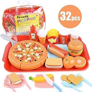 Sotodik 32PCS Play Food Pretend Play Fast Food Toys Set Cutting Pizza Hamburger Fruit Playset for Toddler Kid Boys Girls T...
