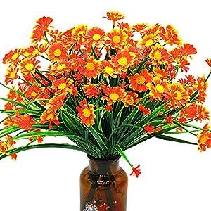 Silk Flower Arrangements Artificial Daisy Flowers (Pack of 4) (Orange)