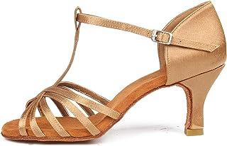 SWDZM Women's Standard Satin Latin Dance Shoes Ballroom Performance T-Strap Shoes Model-SS331
