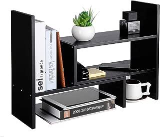 Desktop Organizer Office Storage Rack Adjustable Natural Wood Display Shelf Stand Rack Wood Desk Organizer Set Office Storage Expandable Tabletop,Black