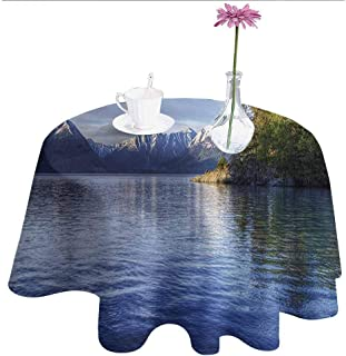Alaska Leakproof Polyester Tablecloth Turnagain Arm of The Cook Inlet Anchorage Idyllic Lakeside Photography Outdoor and Indoor use D55 Inch Lime Green Navy Blue