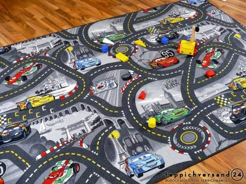 Snapstyle Tapis de Jeu pour Enfant Disney Cars Gris Circuit de Route - 17 Tailles Disponibles