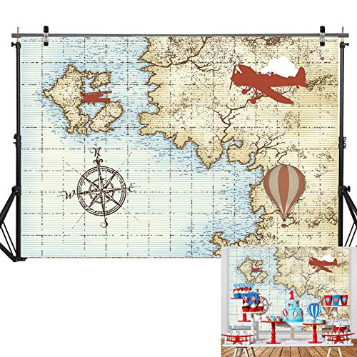 7x5ft Soft Fabric/Durable Photography Backdrop Marine Airplane Vintage Hot Air Balloon Map for Kids Birthday Party Supplies Baby Shower Decorations for Boy Photo Background Studio Props Booth