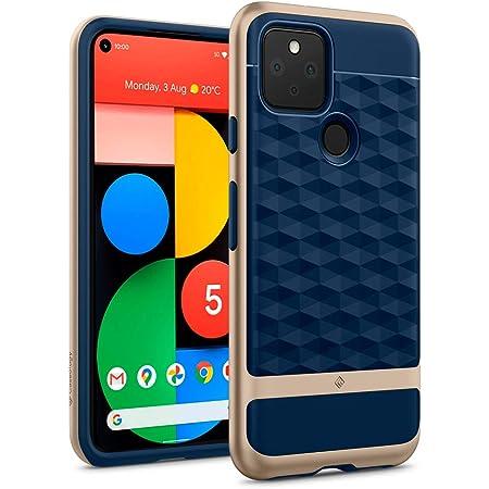 Caseology Google Pixel 5 ケース TPU PC カバー 耐久性 立体パターン グリップ感 パララックス (ネイビー・ブルー)