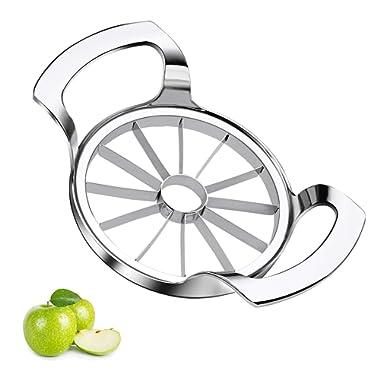 Sinnsally Apple Slicer Upgraded Version 12-Blade Extra Large Apple Corer Peeler,Stainless Steel Ultra-Sharp Fruit Corer & Remover,Cutter,Wedger,Pitter,Decorer Tool,Divider for Up to 4 Inches Apples