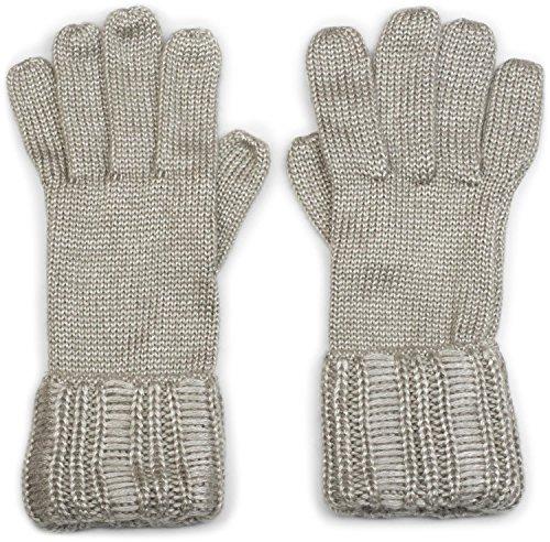 styleBREAKER Damen warme glänzende Handschuhe mit doppeltem Bund, Winter Strickhandschuhe, Fingerhandschuhe, Glitzer 09010011, Farbe:Hellgrau meliert