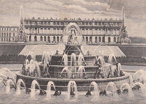 Chiemsee - Latona-Brunnen. Ansicht mit Schloß Herrenwörth im Hintergrund. [Grafik]