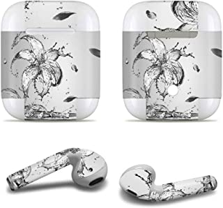 Masino Bluetooth Headset Protective Sticker Protector Decal Skin Cover for Apple AirPods 2 & 1 with Charging Case, NOT Compatible with AirPods 2 Wireless Charging Case (Decal- Lily Grey)