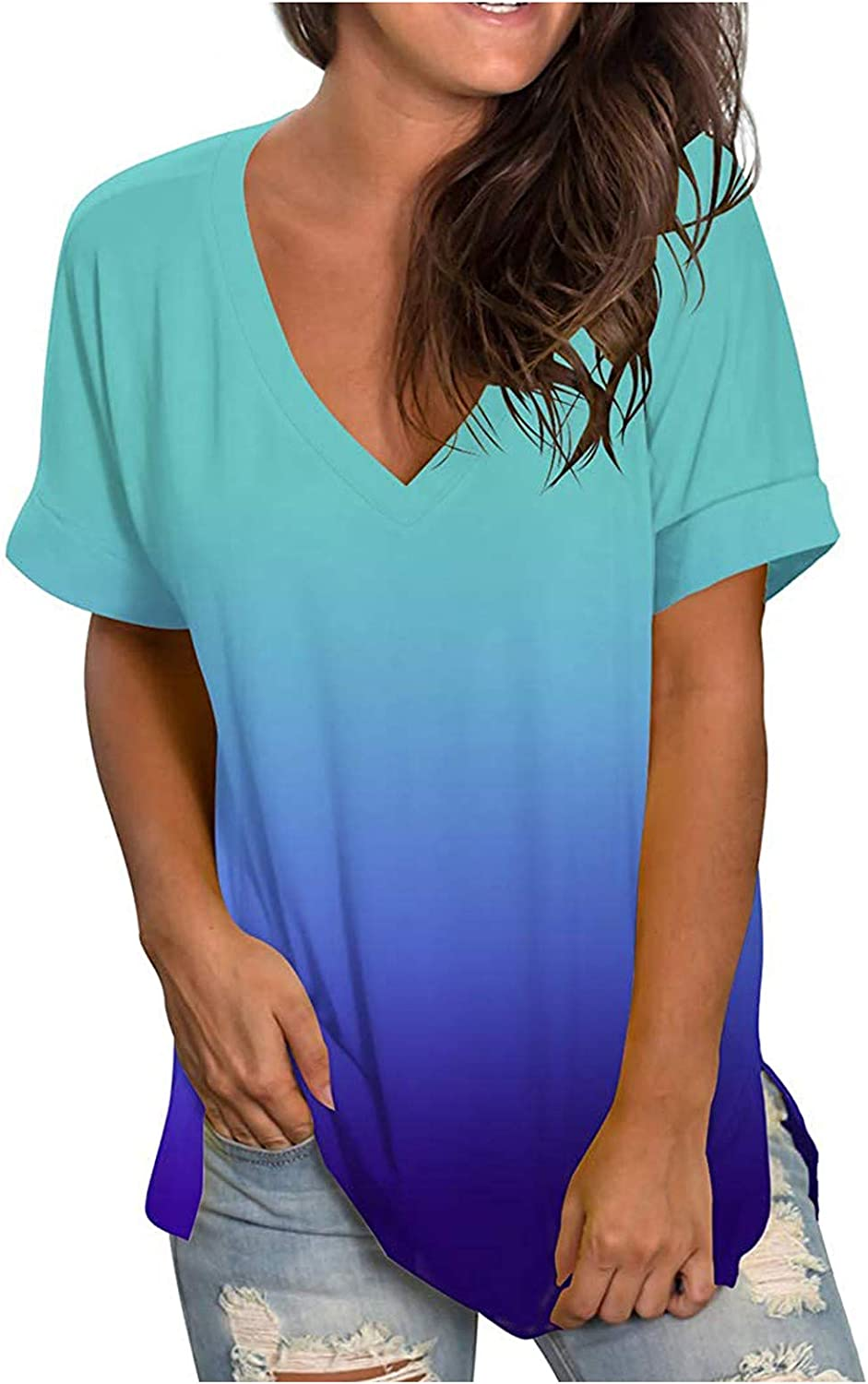 hengfeny Womens Tops V Neck T Shirts Roll Up Short Sleeve Loose Solid Color Tunic Plus Size Casual Basic Tees Tops