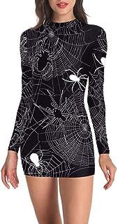 TIFIY Vestito Halloween Donna,Vestito Donna Elegante Mini Abito Abito da Donna a Maniche Lunghe con Spalla Fredda Stampa S...