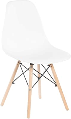 Bold Tones Mid-Century Modern Style Plastic DSW Shell Dining Chair with Solid Beech Wooden Dowel Eiffel Legs, White, 1