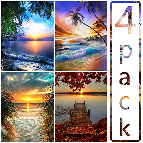 4-Pack 5D Diamond Painting Scenery Full Drill Embroidery Cross Stitch Picture Supplies Arts Craft for Wall,Home Decor