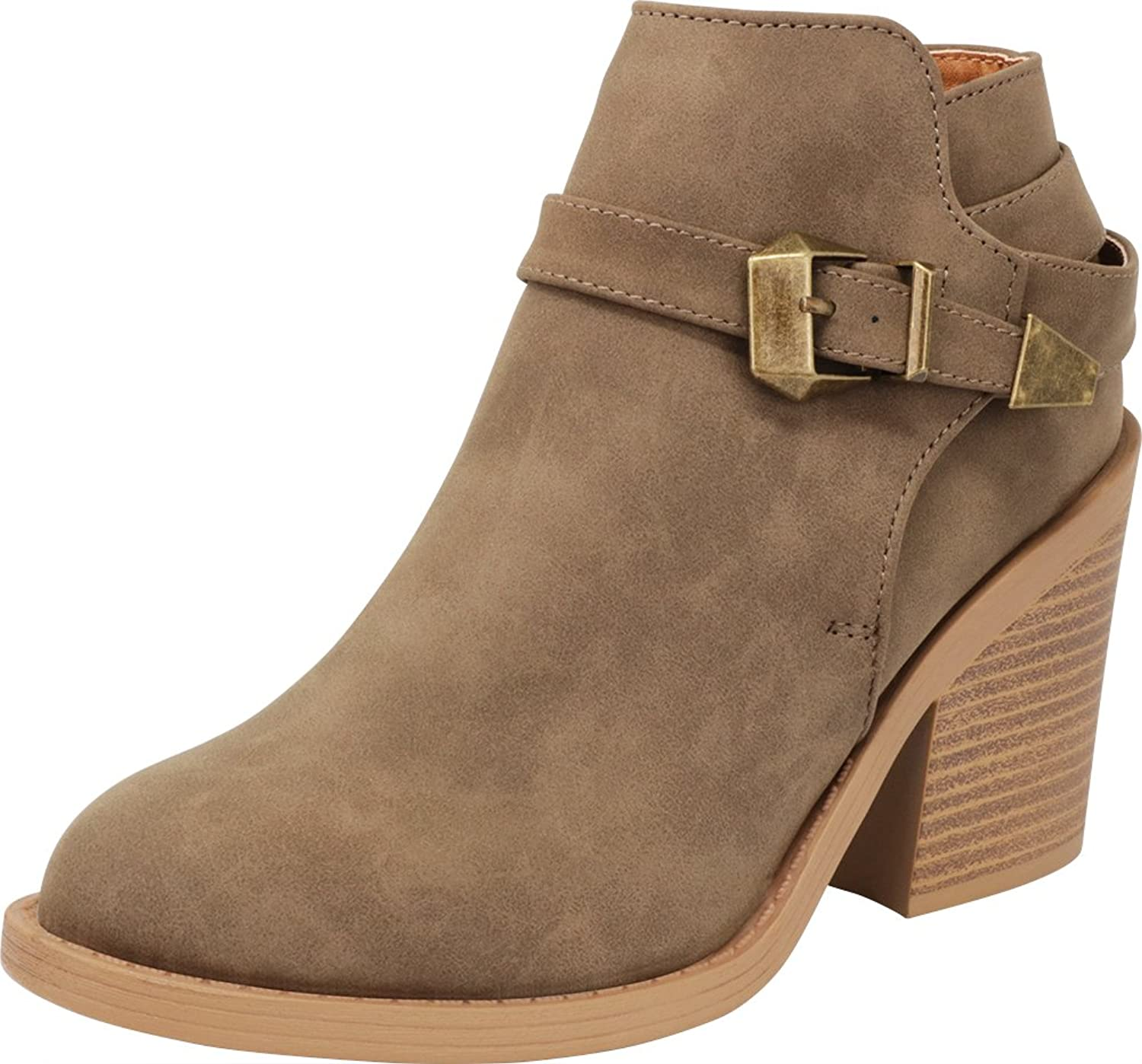 Cambridge Select Women's Closed Toe Buckled Credver Strap Chunky Stacked Block Heel Ankle Bootie