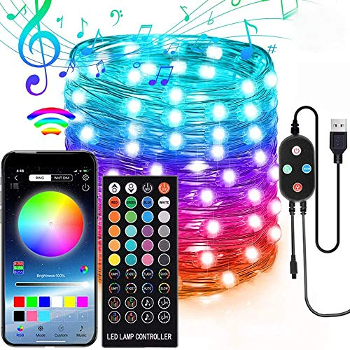 Cleanizer Fairy Lights , Led String Lights with Remote App Controlled, Sync to Music Christmas Lights , Color Changing Fairy Lights Indoor Outdoor (50 ft - 150 Bulbs )