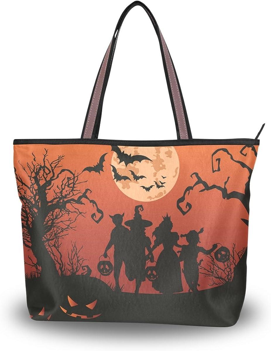 JSTEL Women Large Tote Top Handle Shoulder Bags Halloween Children Patern Ladies Handbag