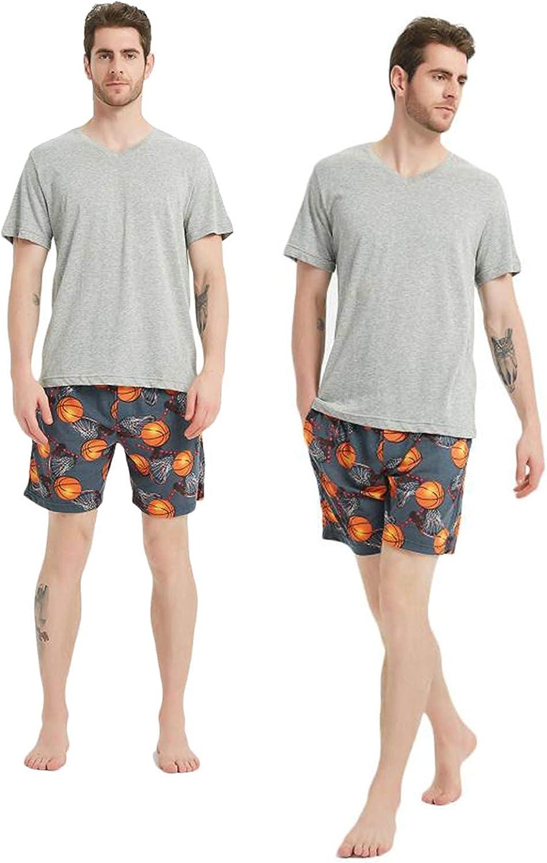 Men Pajama Shorts Set Short Sleeve Sleep Set V-Neck PJ Set 2 Piece Set Sleepwear Nightwear with PantsXS / S / M / L