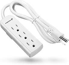 Fosmon 3 Outlet Power Strip - UL Listed, Non Surge Protection & Ship Approved, Heavy 3FT Extension Cord Wall Mount with 3 Prong Grounded AC Plug for Cruise Ship, Dorm Room, Office, Hotel