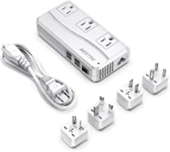 BESTEK Universal Travel Adapter 220V to 110V Voltage Converter with 6A 4-Port USB Charging and UK/in/AU/US Worldwide Plug Adapter (White)