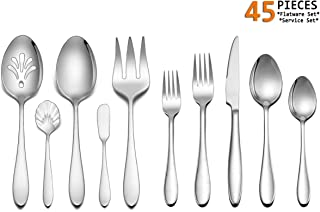 Silverware Set Service for 8, E-far 45-Piece Stainless Steel Flatware Utensil Set with Serving Set, Perfect for Big Family/Wedding/Hotel/Restaurant - Dishwasher Safe