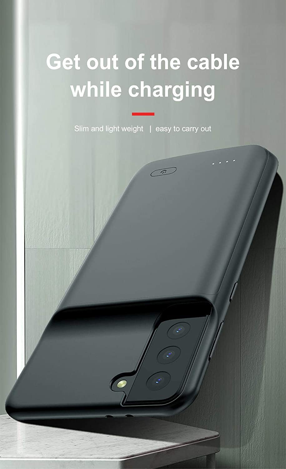 Portable Mobile Power Supply Mobile Phone Case Back Clip Battery Suitable for Samsung S21//S21puls//S21Ultra Charging Case Charging Protective Cover