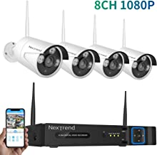 4 Cameras Security System Wireless for Indoor Outdoor Surveillance with 8 Channel 1080P NVR Surveillance System No Hard Drive, Waterproof Plug and Play Wireless Camera System
