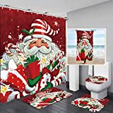 YRIGSUN 5 Pcs Santa Claus Merry Christmas Shower Curtain Sets with Rugs and Towels, Toilet Lid Cover, Bath Mat Festive Cute Cartoon Santa with Many Gifts Bathroom Set