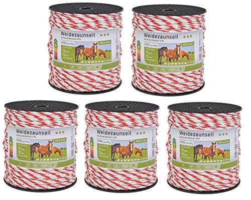 VOSS.farming 1000m Weidezaun Seil Sparpack - 5X 200m Rollen Weidezaunlitze - Durchmesser 6mm - mit extra starkem Kupferleiter und 5X Niroleitern rot Weiss