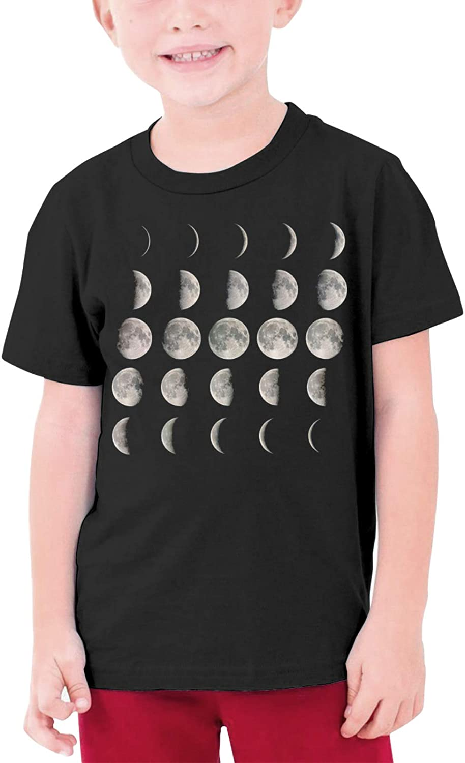 Moon Phases Space Boys Girls Tshirts Short Sleeve Cotton T-Shirt Youth Tees Tops
