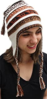 Superfine 100% Alpaca Wool Handmade Intarsia Chullo Ski Hat Beanie Aviator Winter