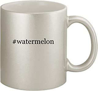 #watermelon - Ceramic Hashtag 11oz Silver Coffee Mug, Silver