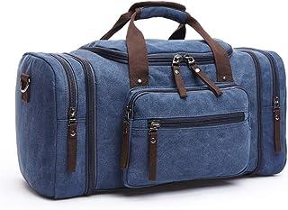 dDanke Travel Duffel Bags Oversized Canvas Travel Tote with Zipper & Multi-Pocket 20.9x9.8x11.8 Inch (Dark Blue)