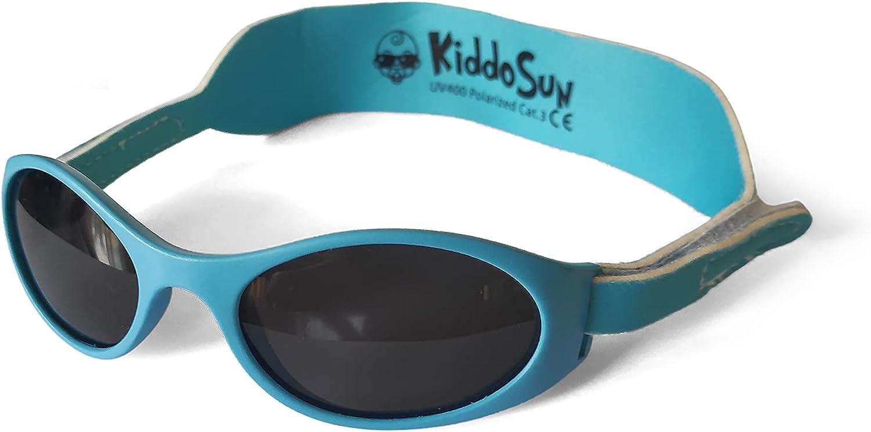 KiddoSun Gafas de sol POLARIZADAS para bebés y niños, desde 0 meses a 2 años y medio, 100% protección UV y POLARIZADAS, MUY CÓMODAS gracias a su banda ajustable de neopreno, regalo ideal para bebes.