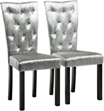 vidaXL 2X Dining Chairs Indoor Kitchen Dinner Room Café Cushioned Side Seat Home Living Office Furniture Velvet Silver Fabric