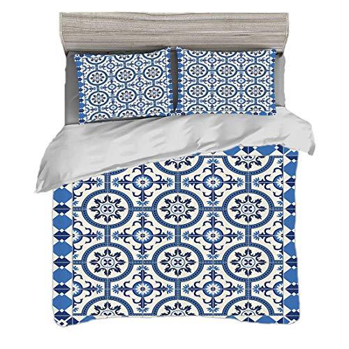 Funda nórdica Tamaño doble (150 x 200 cm) con 2 fundas de almohada Conjunto marroquí Juegos de cama de microfibra Estilo turco oriental inspirado en los motivos de mosaicos arabescos Diseño retro clás