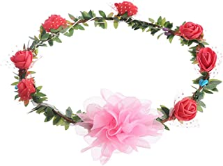 ZUILEE LED Light Rose Flower Crown Floral Headband Garland Headpiece Party Festival Color, 4 Color LED with Light, Rose, H...