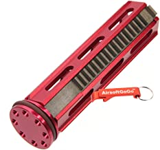 AirsoftGoGo Army Force Aluminum Piston 18 Metal Teeth with Head for Airsoft AEG SVD,R85,L85,SR25 Gearbox (Red) Keychain Included