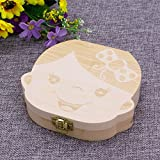 jackyee Kids Tooth Box Organizer Baby Save Milk Teeth Wood Storage Box For Boy&Girl English Baby落葉性無垢材ボックス-女の子