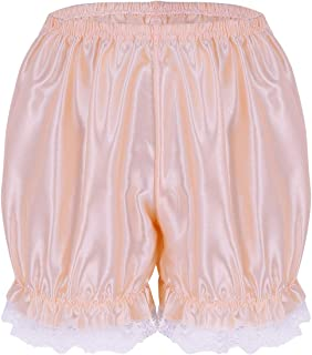 MSemis Women's Frilly Satin Lace Panties Underwear Sissy Knickers Dance Bloomers