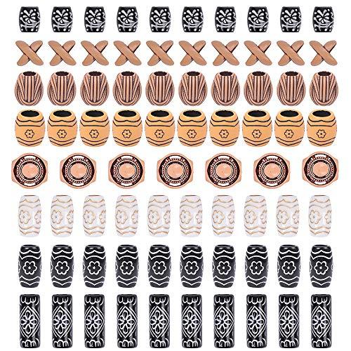 YMHPRIDE 80 Stück African Pottery Dreadlocks Perlen, Bartperlen im antiken Stil, Haarschlauchperlen im Afro-Stil für Haargeflecht Armband Anhänger Halskette DIY Schmuck