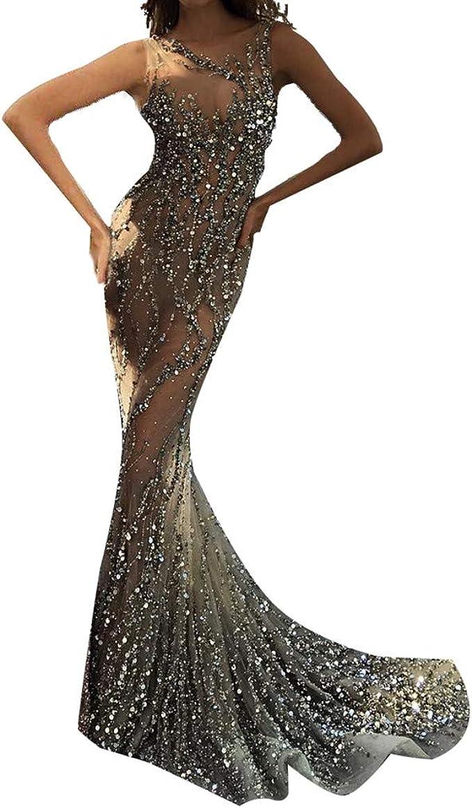 Mayogo Transparent Abschlussball Kleider Damen Lang Tull Spitzen Bodenlang Maxikleid Mit Glanzend Applikationen Elegant Sexy Perspektive Meerjungfrau Party Cocktail Ballkleid Abendkleid Mit Glitzer Amazon De Bekleidung