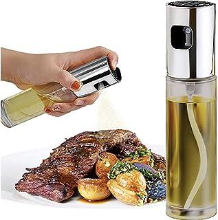 Olive Oil Sprayer Stainless Steel Mister Dispenser Refillable Oil Vinegar Spritzer with Oil Spray Bottle Brush and Oil Funnel for Cooking Salad Grilling Roasting Air Fryer BBQ Kitchen-1 Pcs (Clear)