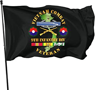 Yiyuan American Fly Breeze 3x5 Foot Flag - Vietnam Combat Infantry Veteran W 9th Inf Div SSI V1