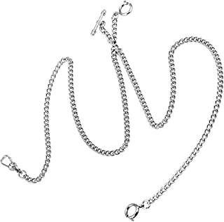 Pocket Watch Chain Double Albert T-Bar Silver Plated - SIBOSUN Antique 29 Inch Chains Vest Waistcoat