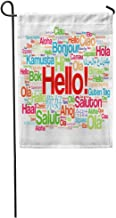 NfuquyamDoormat Garden Flag Diversity Hello Word Cloud in Different Languages of The World Home Yard House Decor Barnner Outdoor Stand 12x18 Inches Flag
