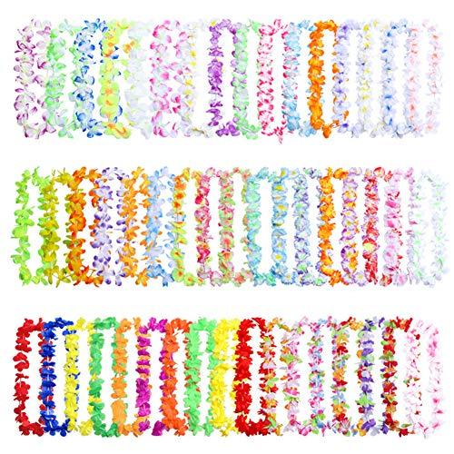 Guirnaldas de flores hawaianas,paquete de 100 collares de seda Leis Tropical Luau para fiesta,100 cm de longitud,guirnalda temática de verano, decoración de vestidos de fiesta 100 Pack