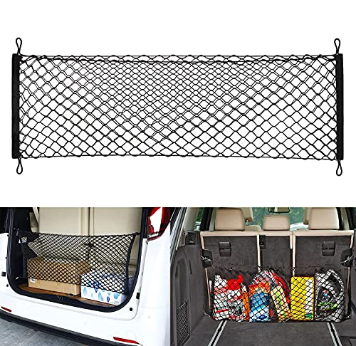 Heavy Duty Cargo Net Stretchable, Universal Adjustable Elastic Truck Net with Hooks, Storage Mesh Organizer Compatible for Pickup, SUV, Truck