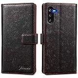 Jenuos Cover Samsung Galaxy Note 10, Vera Pelle Flip Libro Custodia a Portafoglio Folio Telefono con Magnetica Chiusa per Samsung Galaxy Note 10 - Nero(N10-EG-BK)