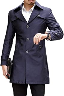 Men's Trench Coat Outdoor Slim Single Breasted Peacoat Trench