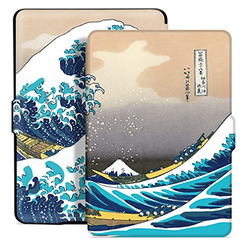 Ayotu Custodia per Kindle Paperwhite - Case Cover Amazon 1/2/3 Adatto versioni: 2012, 2013, 2015 e 2016 Nuovo 300 ppi(non Compatibile con 10ª generazione - modello 2018), K5-04 The Surfing in Kanagawa