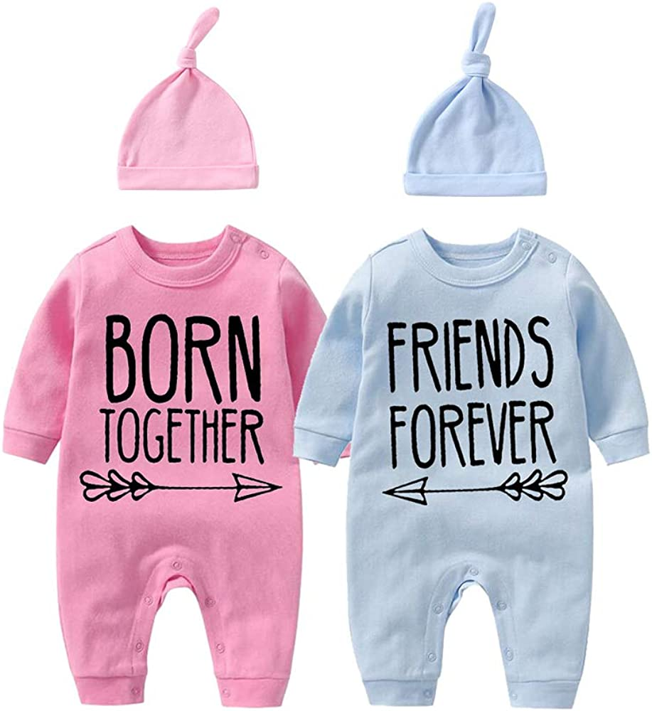 YSCULBUTOL Baby Twins Bodysuit with hat Born Together Friend Forever Baby boy Clothes Toddler Girl Clothes Baby Shower
